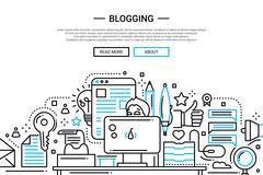Blogging - line design website banner Stock Illustration