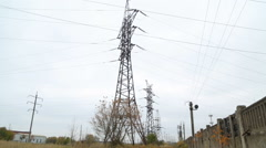 Thermal power. Old dirty power from high-voltage power lines. Outside plan. Air Stock Footage