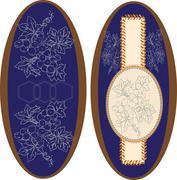Set of two (2) vintage ellipse frames with ornate elegant retro abstract flor Stock Illustration