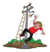Vector of man falling from ladder after an electric shock. Stock Illustration