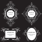 Vintage labels and frames with ornate elegant retro abstract floral design Stock Illustration