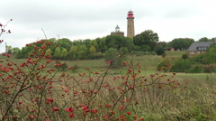 Lighthouse of Cape Arkona at Putgarten. Fields and meadow around. Autumn Stock Footage