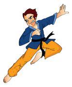 Man Doing a Flying Kick, illustration Stock Illustration