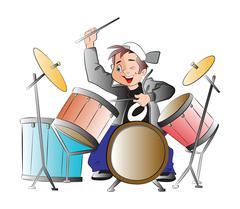 Boy Playing Drums, illustration Stock Illustration