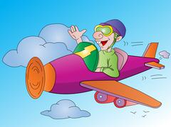 Man Flying an Airplane, illustration Piirros