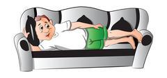 Man Lying on a Sofa, illustration Stock Illustration