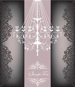 Romantic vintage card design with chandelier Stock Illustration