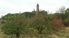 Stormy weather at Lighthouse of Cape Arkona at Putgarten. Stock Footage