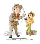 Man Teaching a Boy How to Fish, illustration Stock Illustration