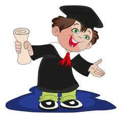 Vector of happy graduate boy holding degree certificate. Stock Illustration