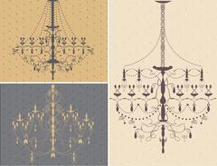 Set of three chandelier design elements Stock Illustration
