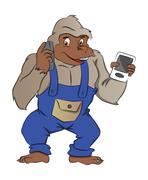 Gorilla with Gadgets, illustration Stock Illustration