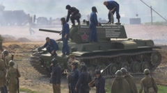 Crew gets out of the tank and becomes in a row, Russian army Stock Footage