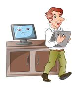 Vector of a cartoon monitor looking at businessman carrying laptop. Piirros
