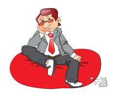 Vector of a thoughtful businessman sitting on bean bag. Stock Illustration