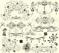 Vintage elements with ornate elegant floral design Stock Illustration