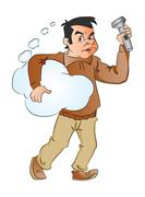 Vector of man holding thought cloud and flashlight. Stock Illustration