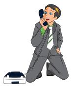 Vector of surprised businessman holding telephone receiver. Stock Illustration