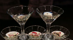 Champagne Glass Tower in Restaurant service interior Stock Footage