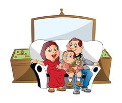 Vector of a family sitting on couch, watching television. Piirros