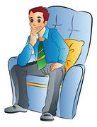 Man Sitting on a Soft Chair, illustration Stock Illustration