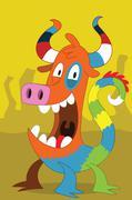 Taurus pig-like alien monster with clown dragon tail Stock Illustration
