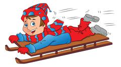 Vector of excited boy on sleigh. Stock Illustration