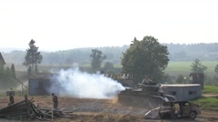 Old Russian tank leaves the battlefield, the Second World War Stock Footage