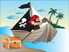 Vector of pirate's boat and treasure chest at riverbank. Stock Illustration