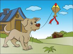 Vector of dog flying a kite. Stock Illustration