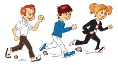 Vector of kids running. Stock Illustration