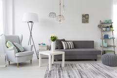 Modern living room interior with a grey armchair Stock Photos