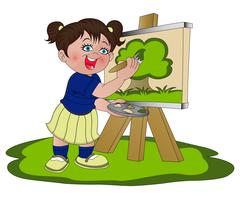 Vector of girl painting on canvas. Stock Illustration