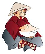 Vector of excited man with a bowl of food. Stock Illustration