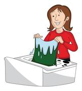Vector of woman doing laundry. Stock Illustration
