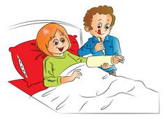 Vector of man writing on wife's plaster cast, relaxing on bed. Stock Illustration