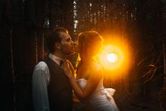 Dramatic picture bride and groom on the background of leaves forest backlight Stock Photos