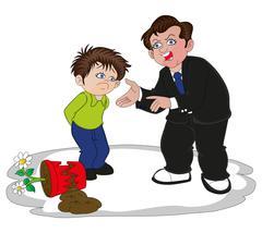 Vector of businessman scolding his son for broken flower pot. Stock Illustration