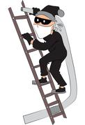 Vector of thief with pipe on ladder. Stock Illustration