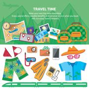 Travel time.  Flat style travel blog icon set. Holiday vacation concept Piirros