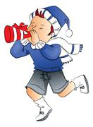 Vector of boy blowing party horn blower. Stock Illustration