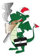 Vector of fly dragon carrying work tools and smoking cigar. Piirros