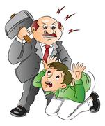 Vector of angry businessman hitting employee. Stock Illustration