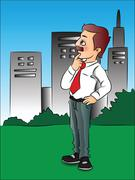 Vector of thoughtful businessman in front of buildings. Stock Illustration