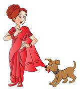 Vector of pet dog pulling woman's saree. Stock Illustration