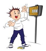 Vector of man receiving an electric shock after short circuit. Stock Illustration