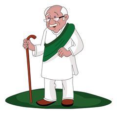 Vector of senior man walking with stick. Stock Illustration