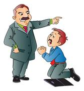 Vector of junior executive begging for work. Stock Illustration