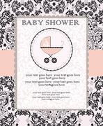 Vintage baby shower invitation card with ornate elegant abstract floral desig Stock Illustration