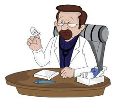 Vector of a doctor showing his injured finger. Stock Illustration